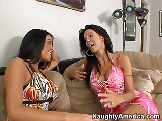 Two sexy milfs share a young cock