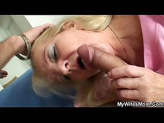 Old blonde rides his big meat