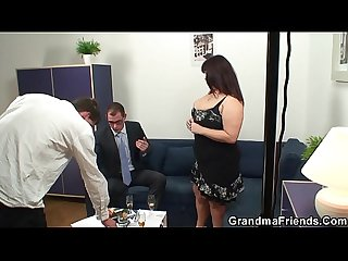 Two dudes bang old huge boobs mommy