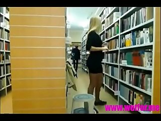 Hot blonde teen strips in the library on webcam and gets caught