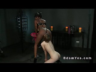 Natural busty slave licks her ebony mistress