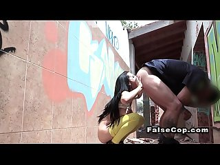 Fake cop on duty fucks slim babe outdoor
