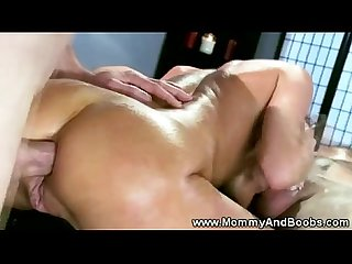 Busty milf gets hot spit roasting from lucky guy