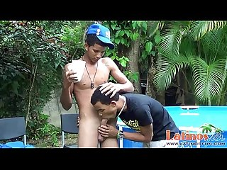 Horny latin twinks jump into the pool for oral Fun