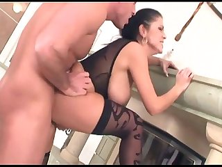 Busty milf fucking in lingerie and high heels