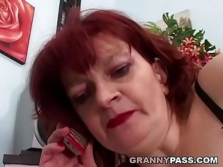 Redhead granny can t wait for anal with young dick