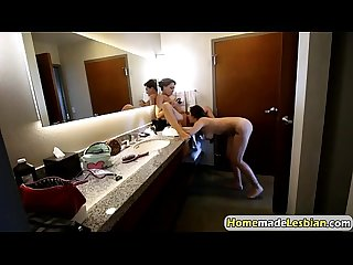 Karlee Grey and Zoey Monroe enjoy lesbian fuck in the bathroom
