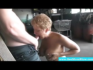 Blonde mature milf feasting on hard cock