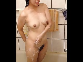 Hidden spy cam in dormitory bathroom, hot asian woman