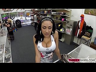 Huge tits thief fucked by a monster cock in the shop