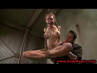 Hogtied suspended sub gets toy treatment