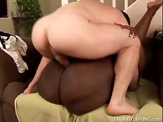 Beautiful busty black BBW Dynasty fucks a lucky white guy