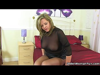 English Milf silky thighs lou destroys her tights and plays