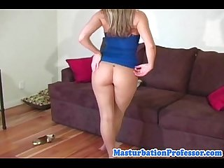 Blonde seethrough nylon milf at home