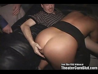 Birthday milf gangbanged in porno theater