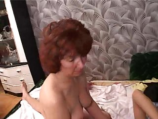 Mature gela wakes up young guy