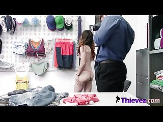 Cute skinny shoplifter brunette