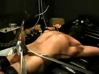 Bound tickled vac pumped jock wearing head gear bdsm