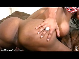 Big ass ebony t-babe is fingering her butt and jerking off