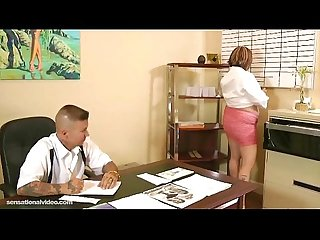 Chubby secretary fucks her dirty boss on desk in office