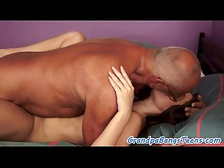 Busty young babe riding seniors cock