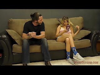 Brat stepdaughter makes her stepdaddy her slave
