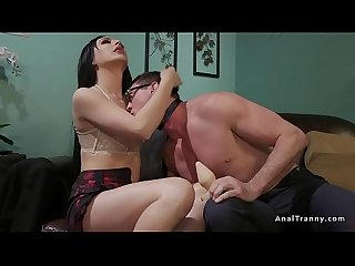 Busty tranny anal fucks therapist