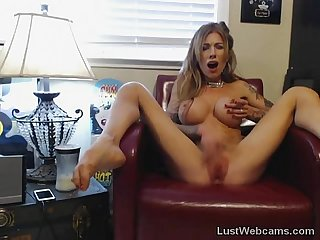 Busty blonde milf fingers herself on webcam