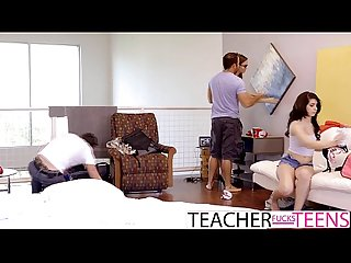 Slutty teen caught by teacher with 2 cocks
