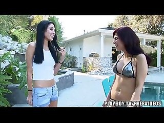 Lesbian roomates by the pool have some fun