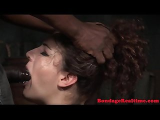 Stockinged bdsm sub throatfucked by maledom