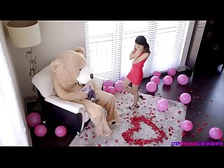 Brother dresses up as a bear to spy on his stepsister and have Sex with her full Video to download t