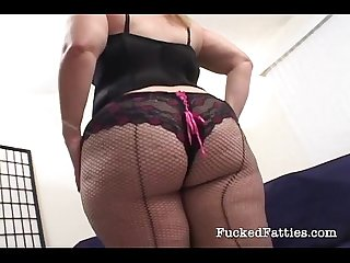Blonde chubby chick pleases two cocks