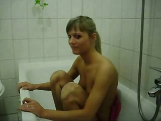 Girl gagging on big cock in the shower more www blondehotte com
