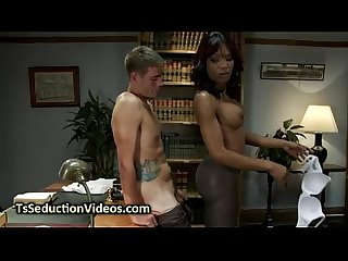 Black tranny in pantyhose fucks dude