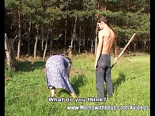 Skinny Farm Boy Outdoor Sex With Redhead Granny