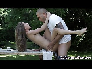 Petite girlfriend fucked hard outdoors