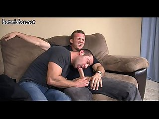 Muscle gay doing blowjob and riding a cock