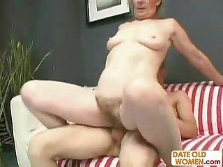 Blonde ugly grandma fucks young guy
