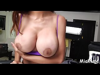 Large tits get exposed during irrumation