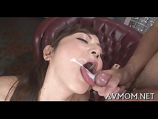 Pretty oriental honey licking cock