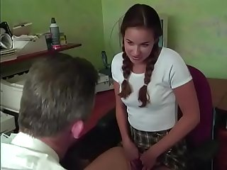 Sweet and innocent schoolgirl fucked by the principal in his office