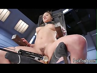 Babe restrained to chair for pussy toying