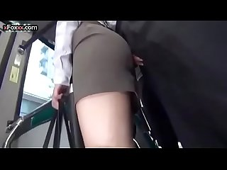 Young office girl goes on a real public sex bus