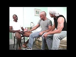 Muscular white guy gets banged by two black thugs
