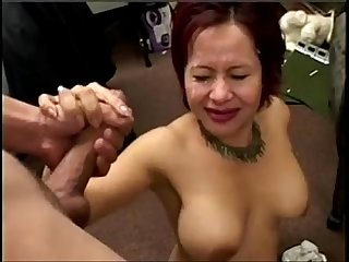 Asian gives blowjob gets cum in her eye xhdbang club
