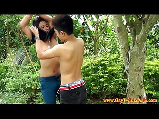 Gay asian twinks sucking dick outdoors