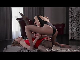 Slender girl in pantyhose and leotard fucks her gf with strapon