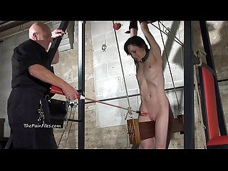 Extreme electro bdsm and wooden device bondage of slave elise grave in hardcore