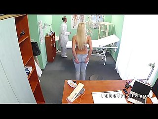 Busty blonde sucks doctors dick in bathroom